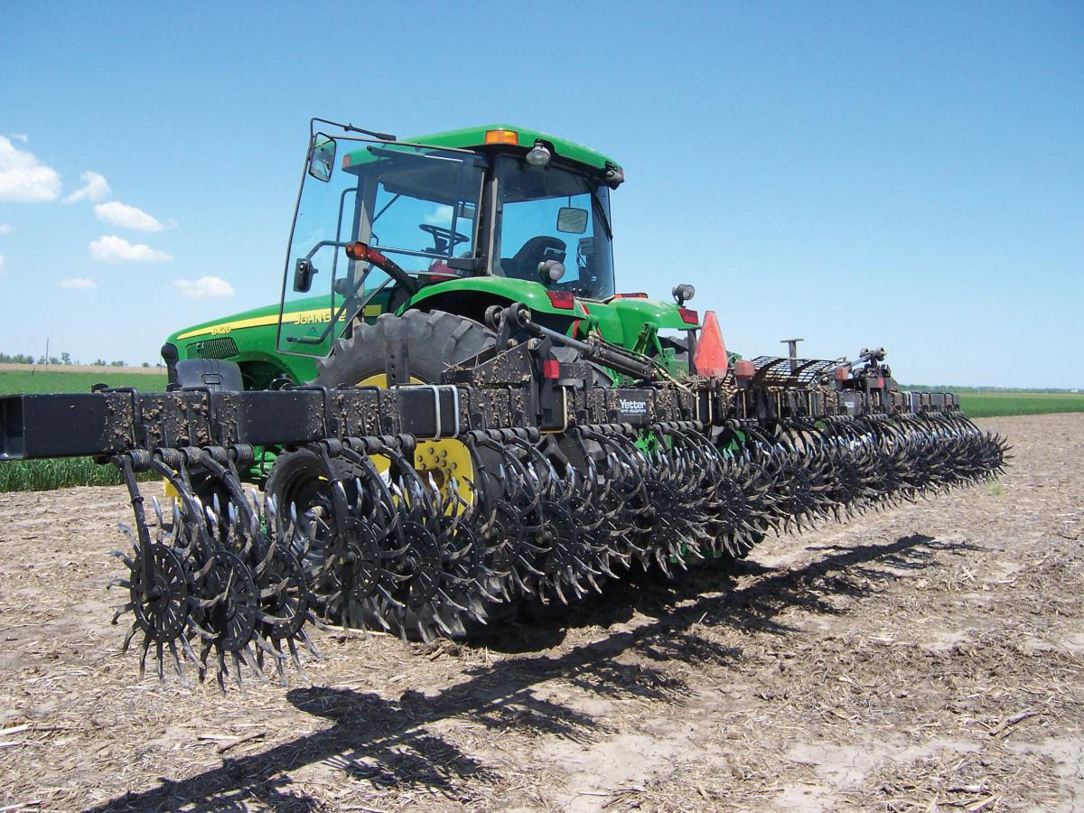 The 3700 Rotary hoe ready to roll in the field