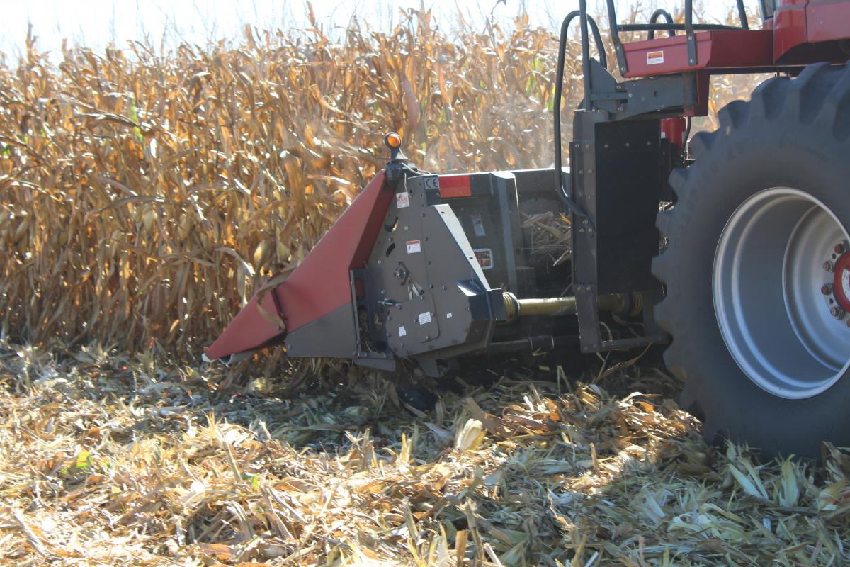 stalk devastator running under the corn head to crimp and crush old stalks