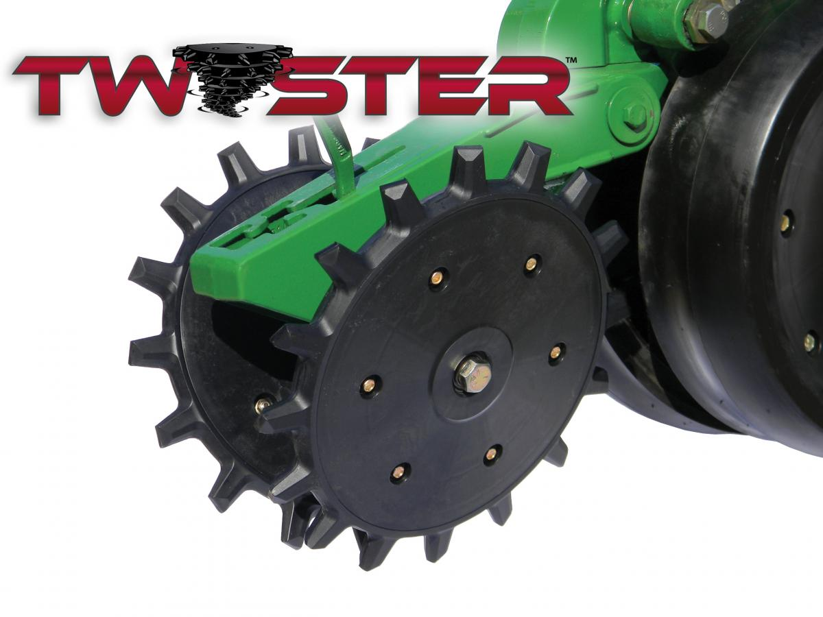 Close up of the twister closing wheels with the official Twister logo