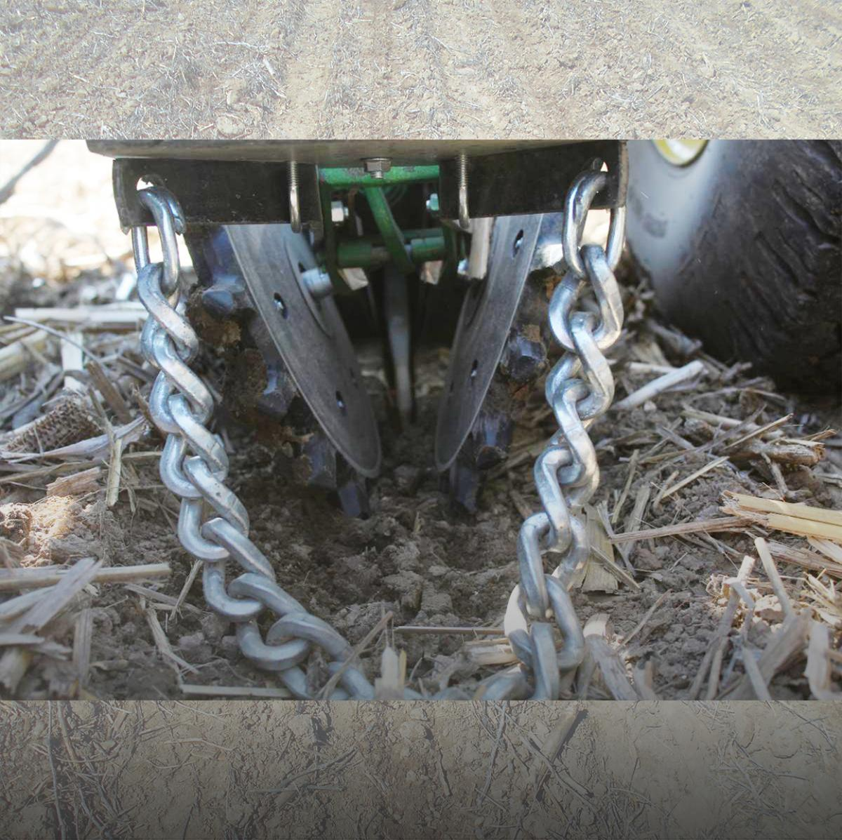 With help from the 6200 Drag Chain, the Twister Poly Closing Wheel creates a consistently closed seed trench.