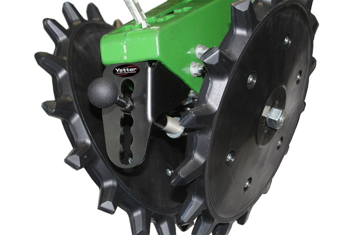 Installing the Angle Pitcher on OEM factory tail wheel assemblies allows growers to quickly adjust closing wheels for a more aggressive seed trench closure.